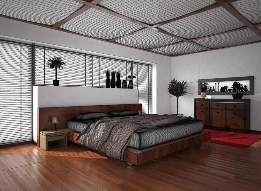 Das Schlafzimmer mit Naturholzboden.